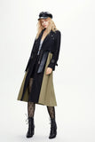 Black & Khaki Autumn Long Sleeve Midi Trench Coat Windbreaker - Windbreakers