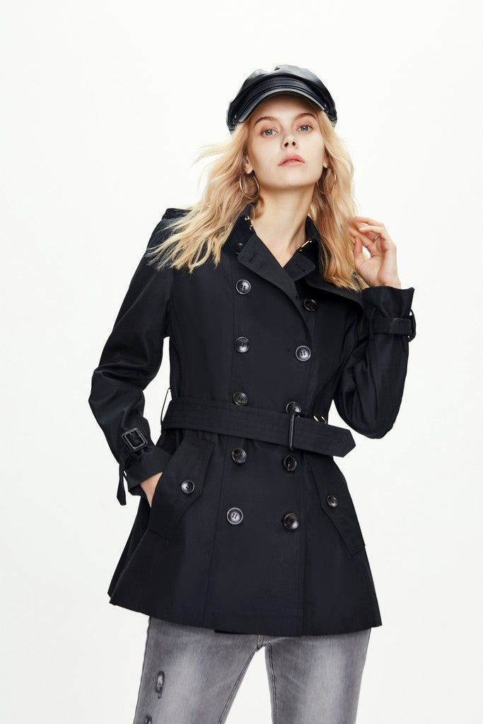 Black Autumn Elegant Long Sleeve Solid Color Double Breasted Trench Coat Windbreaker