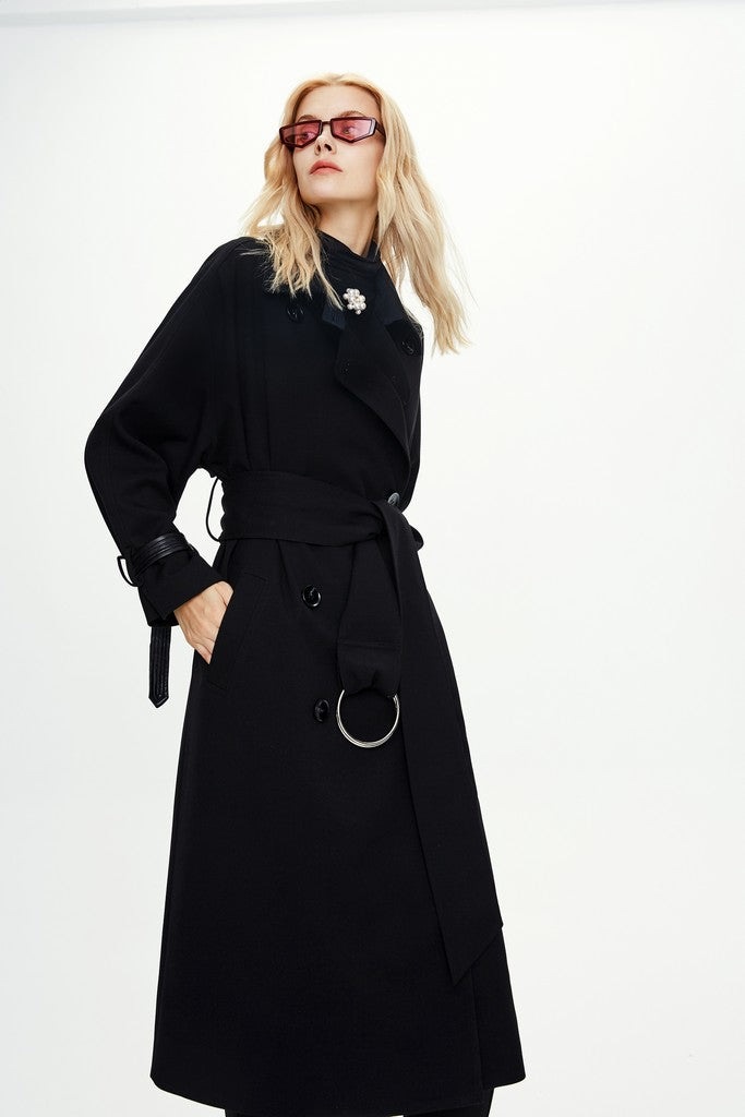 Black Autumn Long Sleeve Solid Color Midi Double Breasted Trench Coat Windbreaker - Windbreakers