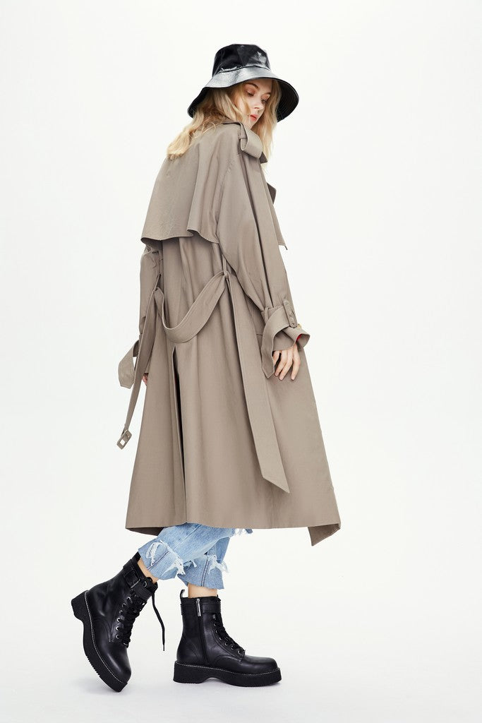 Grey Autumn Casual Solid Color Double Breasted Trench Coat Windbreaker
