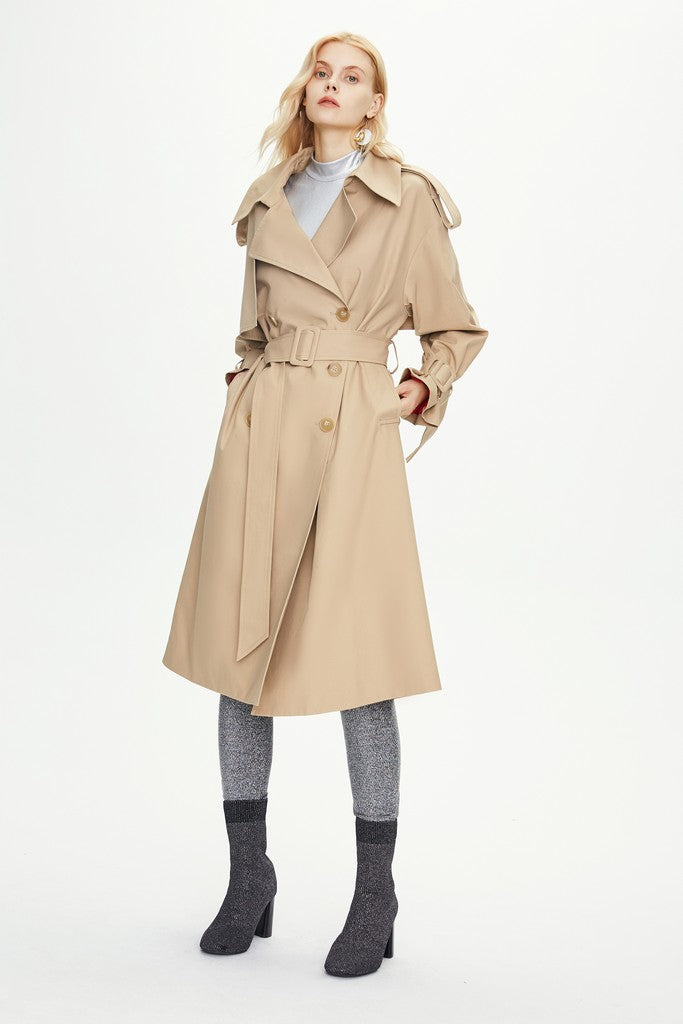 Khaki Autumn Casual Solid Color Double Breasted Trench Coat Windbreaker - Windbreakers