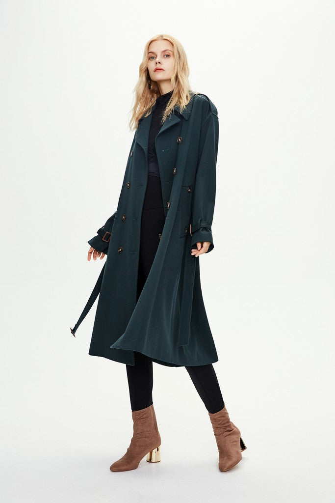 Dark Green Classic Autumn Casual Solid Color Double Breasted Trench Coat Windbreaker - Windbreakers