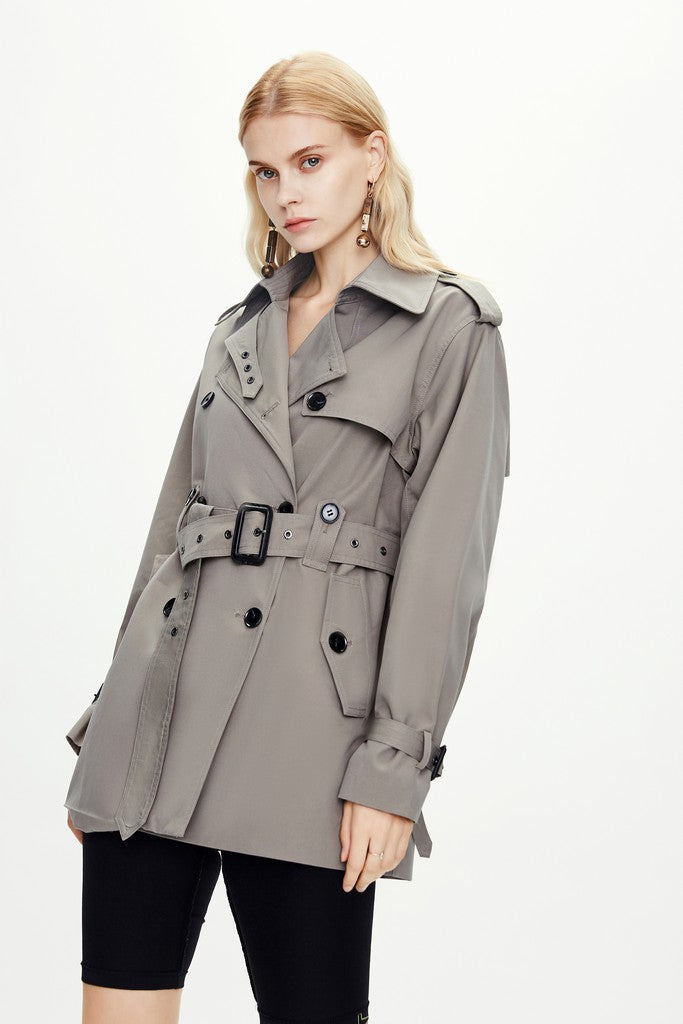 Grey Elegant Autumn Casual Short Double Breasted Trench Coat Windbreaker with Pockets - Windbreakers