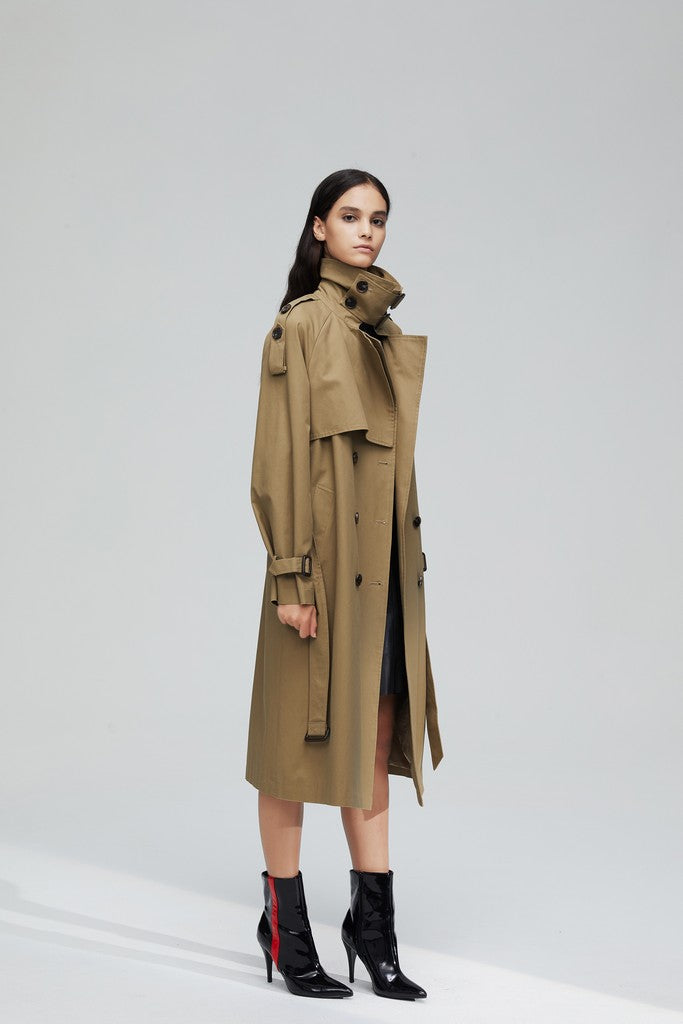 Golden-Brown Casual Long Sleeve Double Breasted Trench Coat Windbreaker with Pockets - Windbreakers