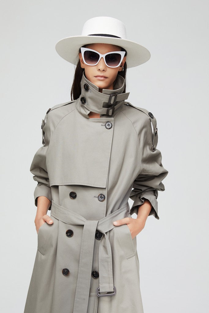 Gray Casual Long Sleeve Double Breasted Trench Coat Windbreaker with Pockets