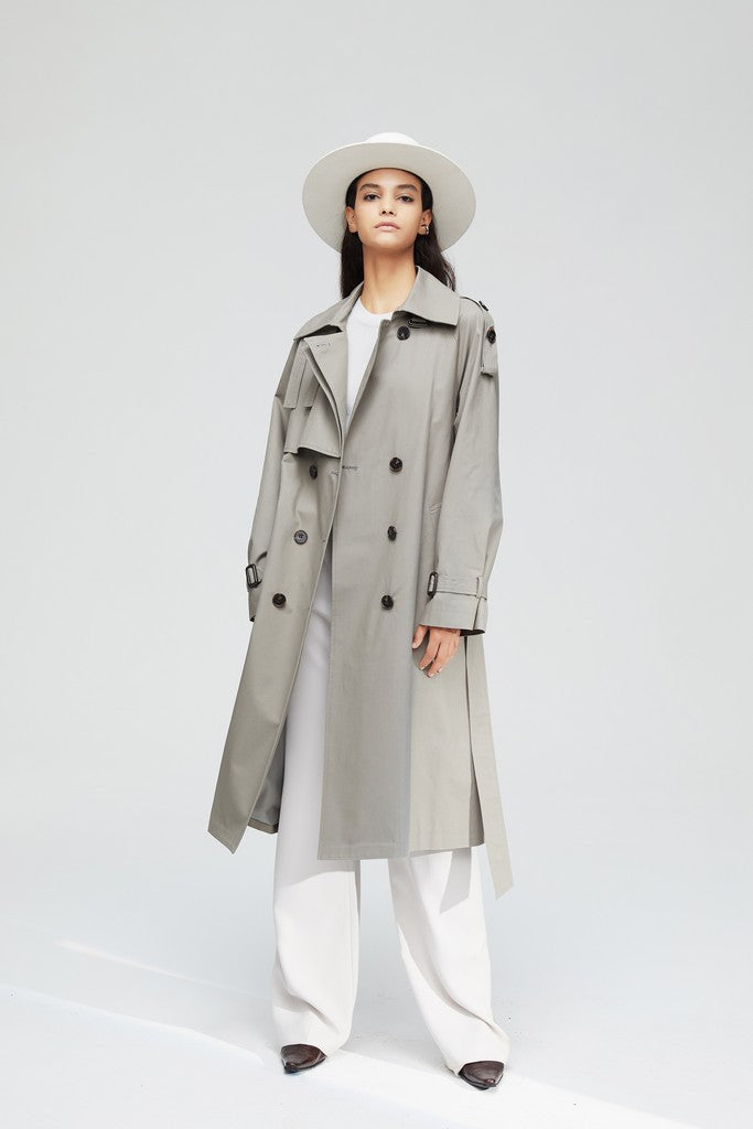 Gray Casual Long Sleeve Double Breasted Trench Coat Windbreaker with Pockets - Windbreakers