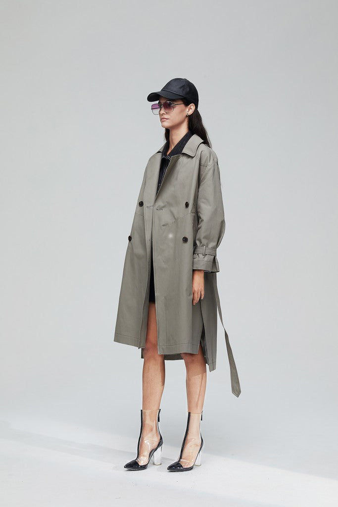 Gray Casual Long Sleeve Knee Double Breasted Notch Lapel Trench Coat Windbreaker