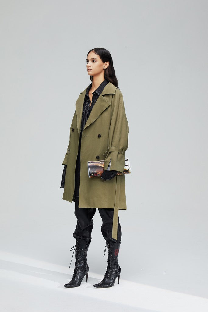 Olive Casual Long Sleeve Knee Double Breasted Notch Lapel Solid Color Trench Coat Windbreaker