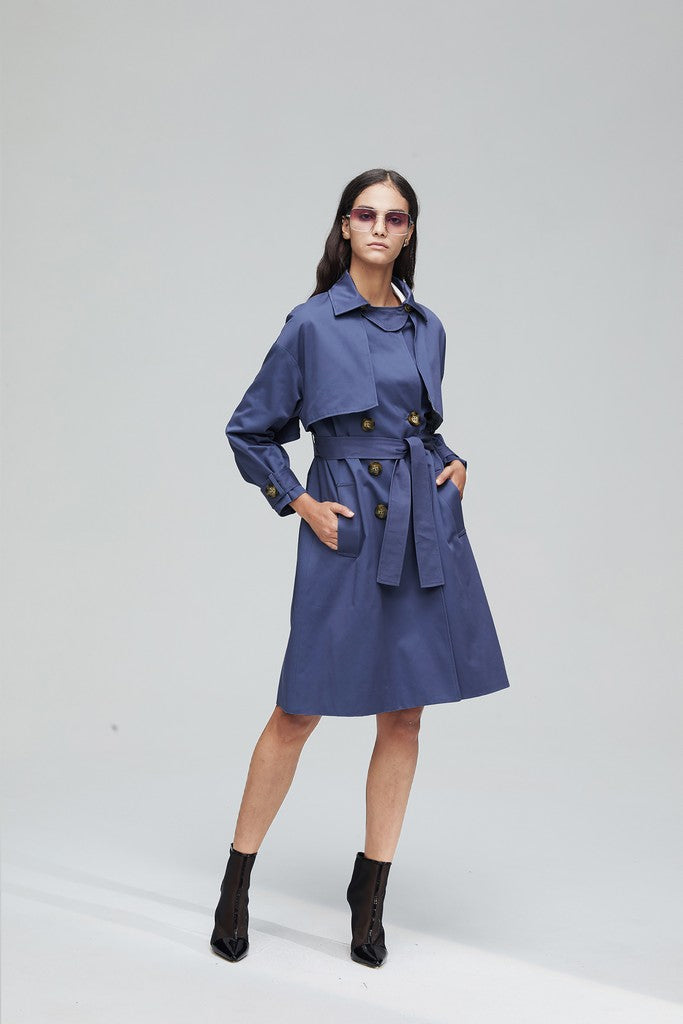 Blue Casual Long Sleeve Knee Double Breasted Solid Color Trench Coat Windbreaker - Windbreakers