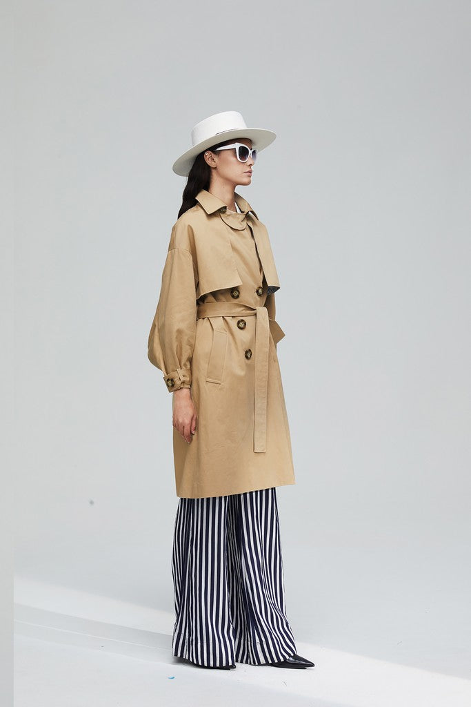 Khaki Casual Long Sleeve Knee Double Breasted Solid Color Trench Coat Windbreaker - Windbreakers