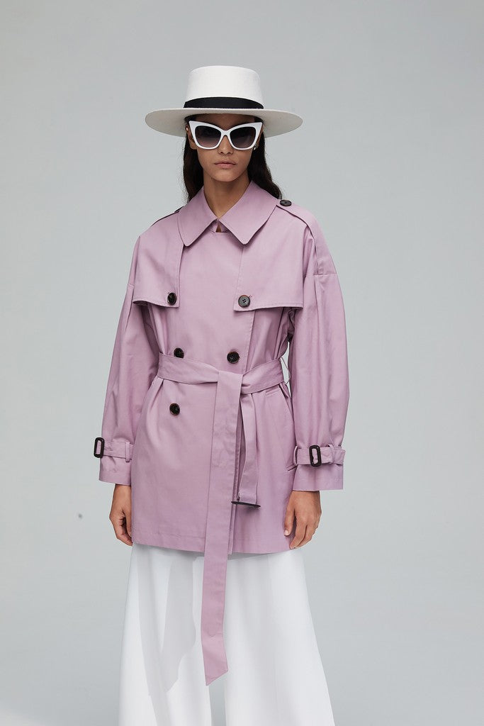Pink Casual Long Sleeve Double Breasted Solid Color Trench Coat Windbreaker