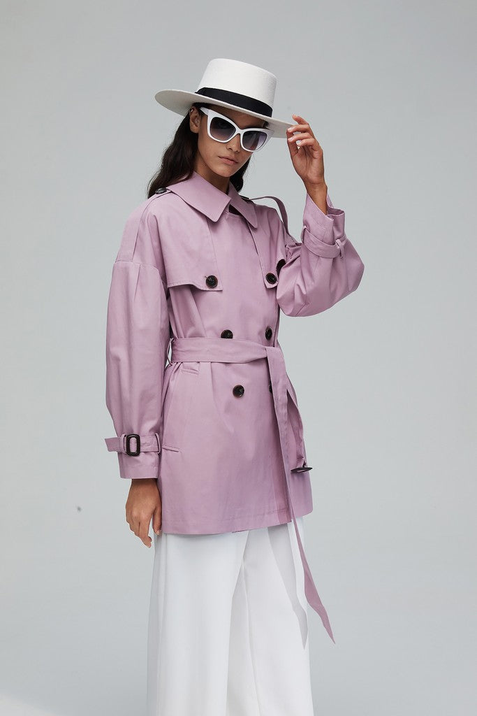 Pink Casual Long Sleeve Double Breasted Solid Color Trench Coat Windbreaker - Windbreakers