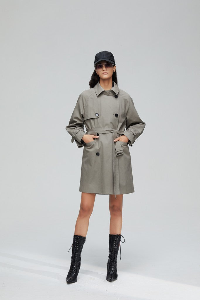 Gray Casual Solid Color Long Sleeve Double Breasted Cotton Trench Coat Windbreaker with Belt - Windbreakers
