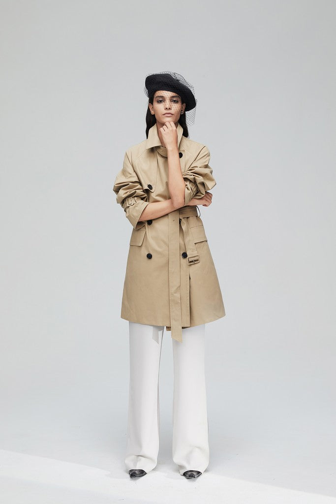 Khaki Casual Solid Color Long Sleeve Double Breasted Cotton Trench Coat Windbreaker with Belt
