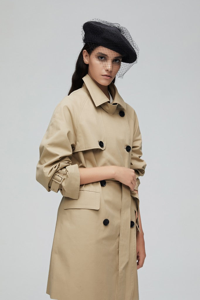 Khaki Casual Solid Color Long Sleeve Double Breasted Cotton Trench Coat Windbreaker with Belt - Windbreakers