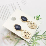 Navy Gold Earrings - Earrings