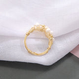 Pearl Ring with Gold Sphere - Rings