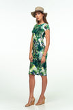 Day Bodycon Crewneck Palm Birds Printed Knee Cotton Dress - Dresses