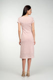 Casual Fitted Crewneck Metalic Melange Below Knee Dress - Dresses