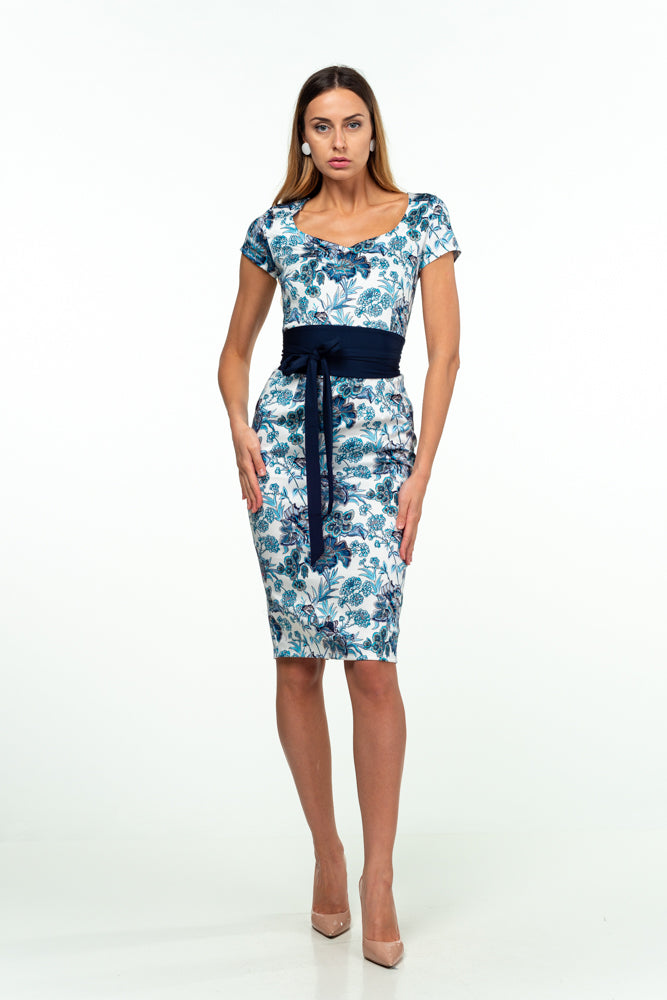 Day Bodycon Sweatheart White & Blue Floral Knee Cotton Dress with Belt - Dresses