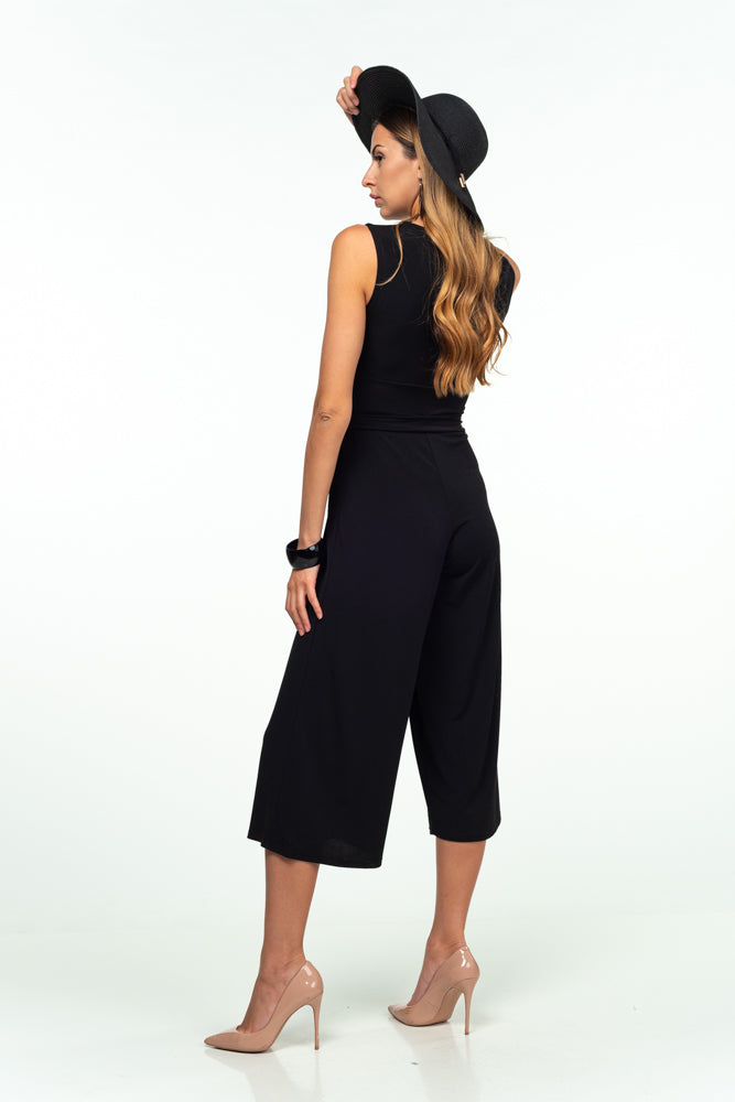 Day V-neck Sleeveless Below Knee Jumpsuit with Belt - Jumpsuits