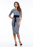 Day Bodycon Crewneck Blue & White Geometry Print Knee Dress with Belt