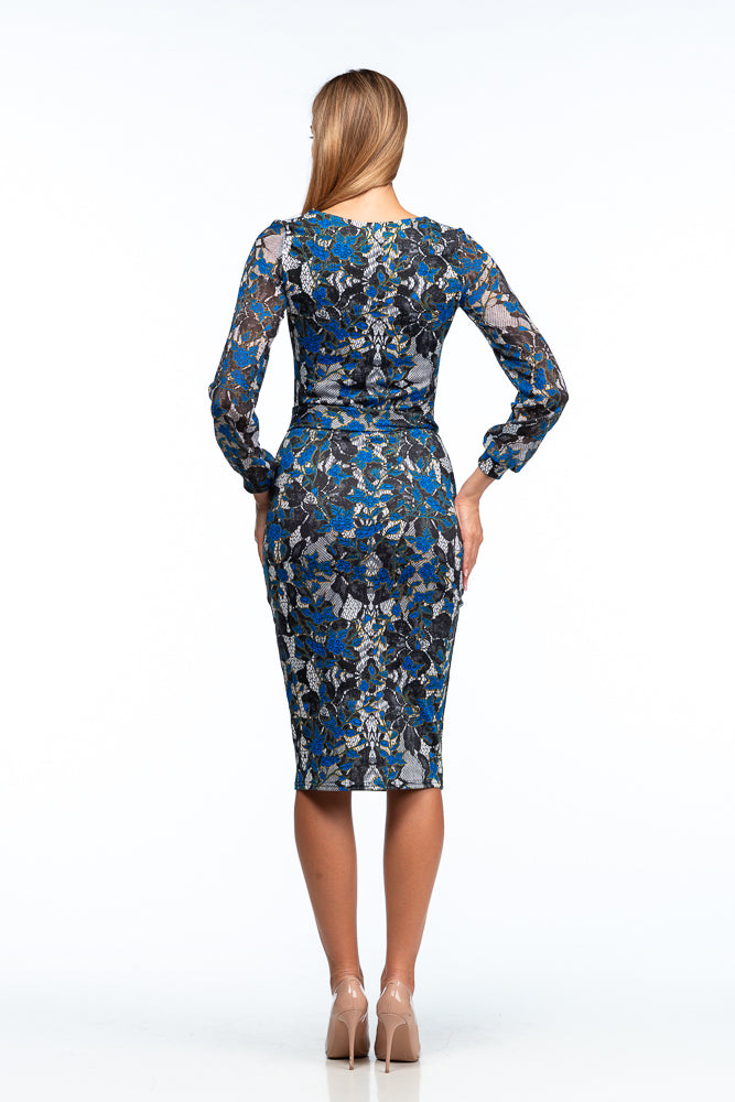 Day Fitted V-neck Gray & Blue Silk Flowers Print Knee Dress with Belt - Dresses