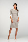 Office Bodycon Crewneck Printed Above Knee Dress - Dresses