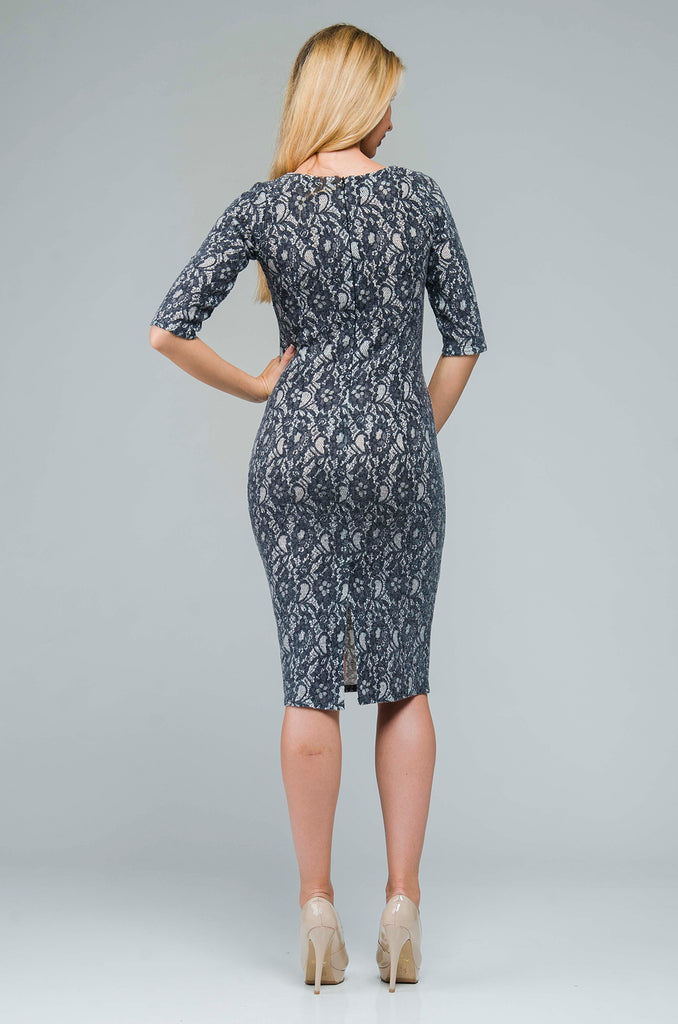 Party Fitted Сrewneck Gray Laced Above Knee Dress
