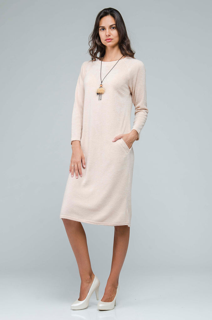 Day H-line Crewneck Beige Angora Knee Dress - Dresses
