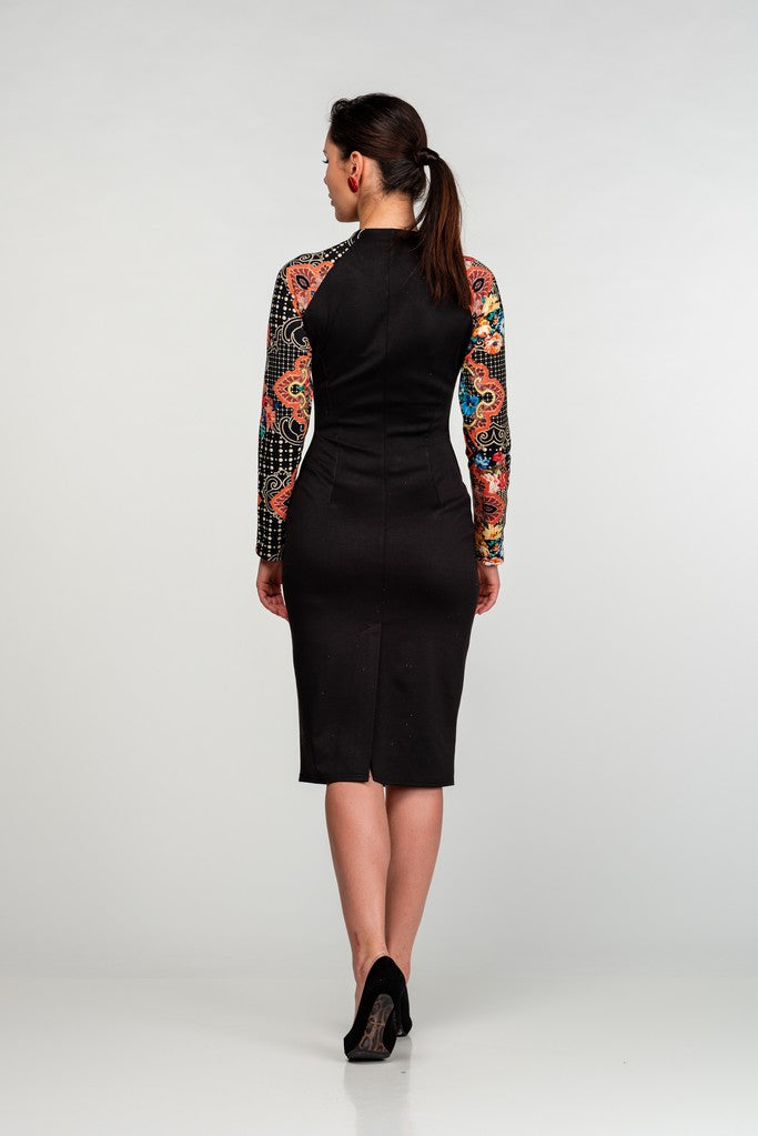 Office Bodycon V-neck Longsleeved Below Knee Dress - Dresses