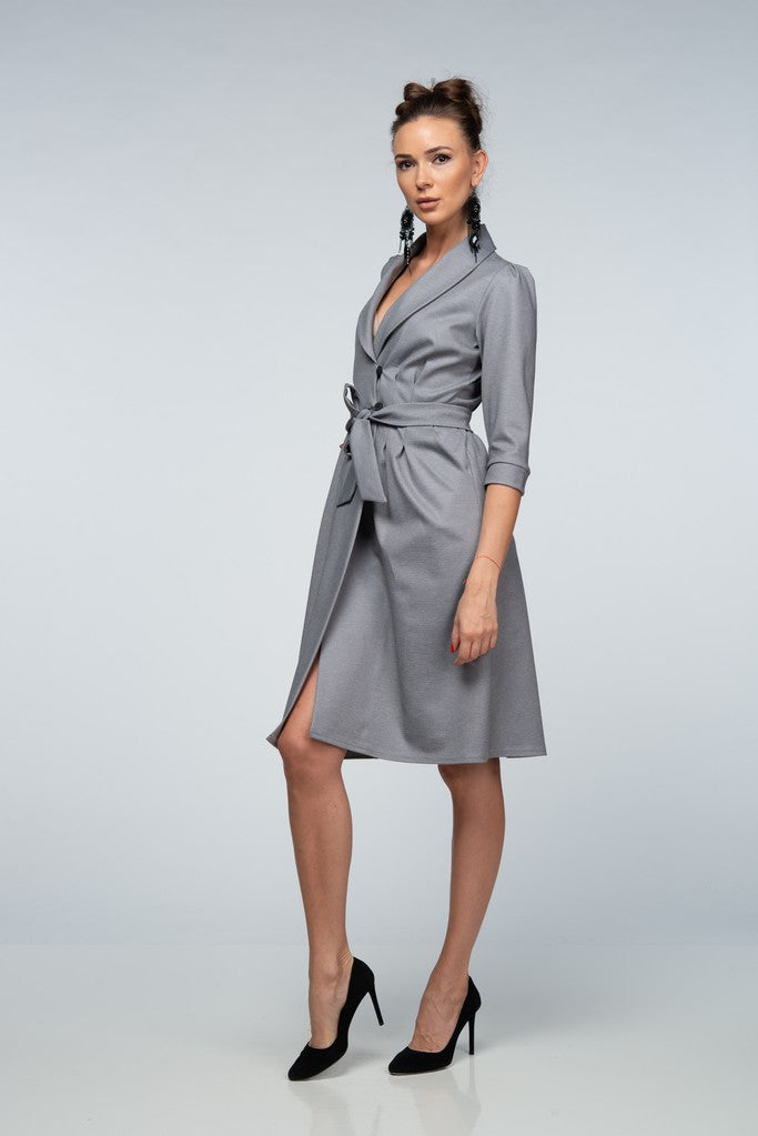 Office H-line V-neck Gray Knee Dress with Belt
