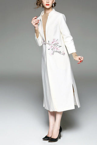 Wool Turn Down Collar Long Sleeve Double Breasted Trench Coat