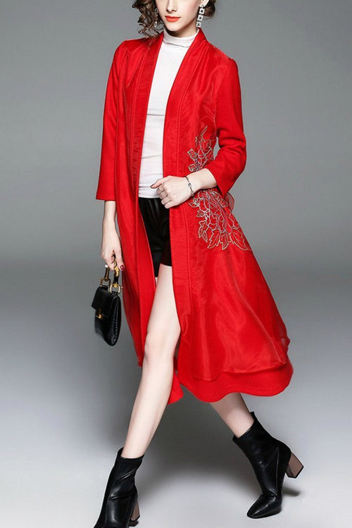 Wool Day Open Front Sleeve Pea Floral Coat