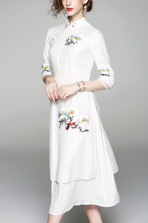 Evening A-line High Neck Elbow Sleeves Maxi Dress
