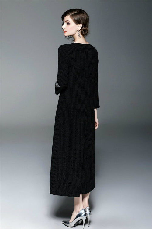 Day H-line Crewneck Bracelet Sleeves Maxi Dress