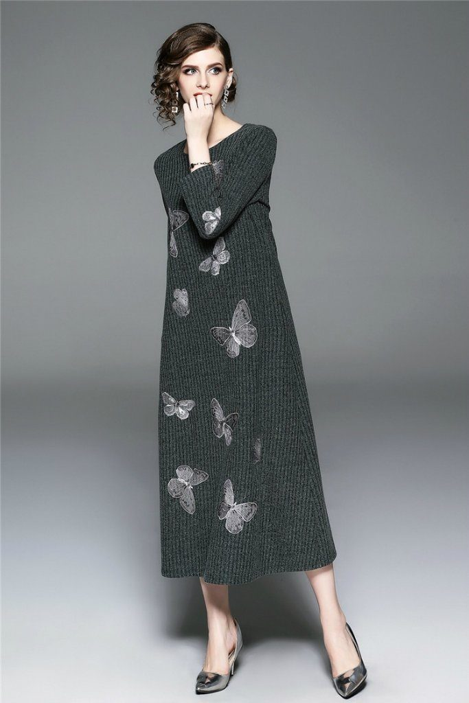 Day H-line Crewneck Bracelet Sleeves Maxi Dress - Dresses