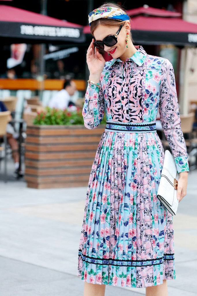 Light Blue Pink Print Day Office Dress