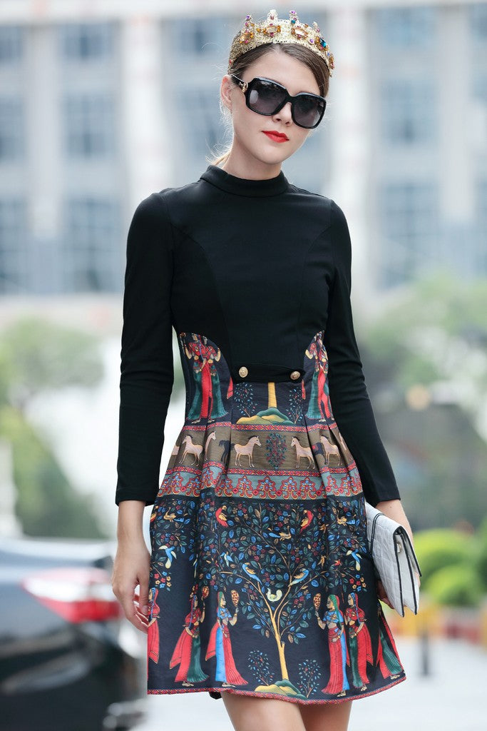 Black Multicolor Print Day Dress
