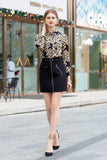 Black Leopard Print Office Set (Shirt & Skirt) - Suits