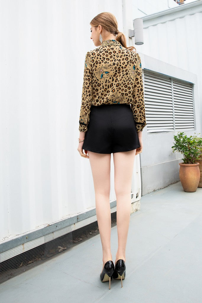 Black Leopard print Office Set (Shirt & Shorts-skirt)