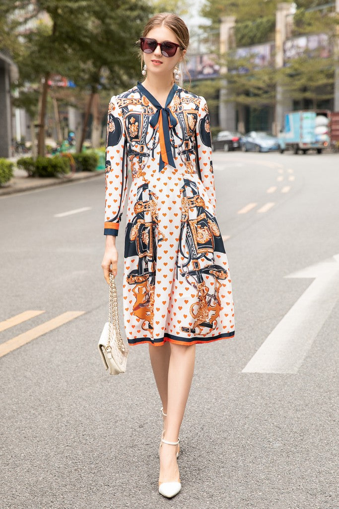 White & Multicolor Print Day Dress - Dresses