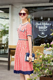 Red & White Print Day Dress - Dresses
