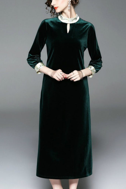 Evening A-line High Neck 3/4 Sleeves Tea Dress - ATLASDAY