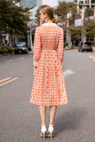 White & Orange Print Day Dress