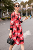Red & White & Black print Day Dress - Dresses