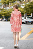 Orange & Milky Print Casual Coat - Coats