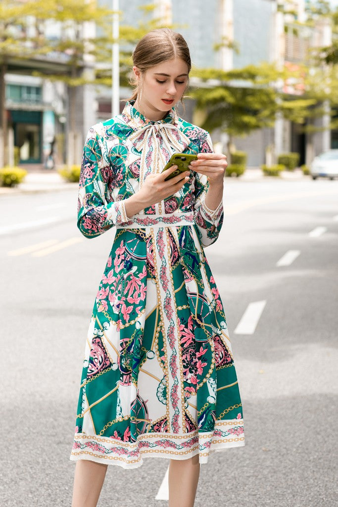 White & Green & Pink Foral Print Day Dress