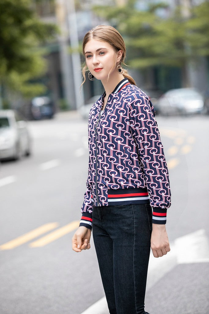 Navy & White & Red Print Day Jacket - Jackets