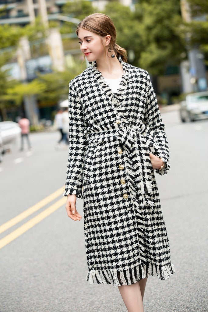 Black & White Grid Day Coat
